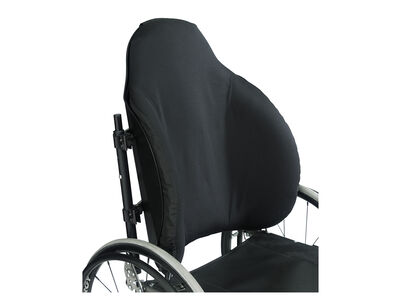 Adjustable back support for users with fair to poor trunk control with deep contouring and extra lateral support.